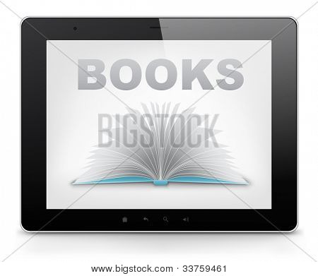 Reader Concept. Tablet PC Isolated on White Background. Vector EPS 10.