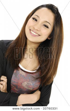 Beautiful casual girl smiling with her hand folded against white background