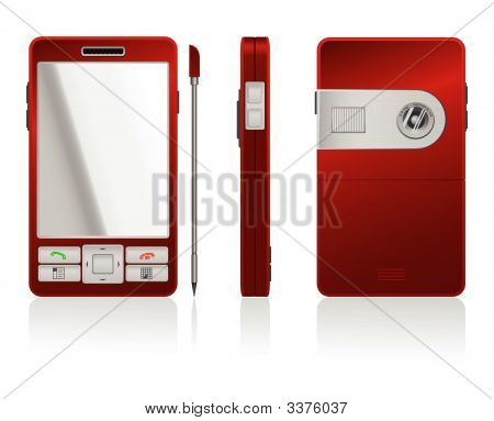 Vector Photorealistic Illustration Of Red Pda