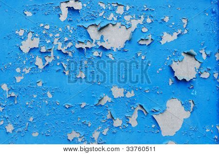 cracked blue paint surface as grunge background