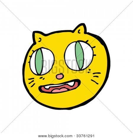 cartoon crazy cat face
