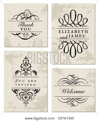 Vector Grunge Ornament Frame Set. Easy to edit. Perfect for invitations or announcements.