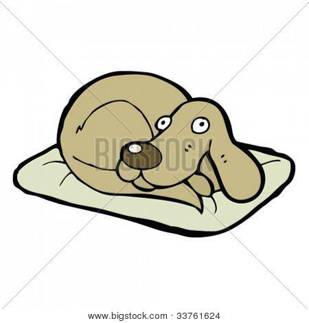 cartoon dog on bed