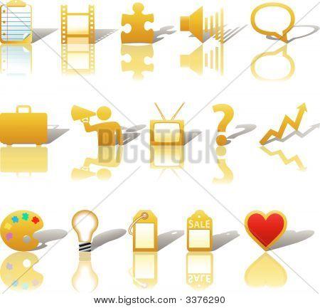 Communications Media Business Icons Set 3 Gold