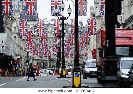 LONDON, UK, JUNE 1: Regent Street is decorated with Union Jack flags to celebrate the Queen's Diamond Jubilee on June 1, 2012 in London. The main celebrations will be held  from June 2 to June 5.