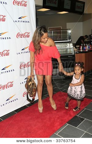 WOODLAND HILLS - JUNE 2: Christina Milian, daughter Violet at the Grand Opening Celebrity VIP Reception of the FIRST SIGNATURE LA FITNESS CLUB on June 2, 2012 in Woodland Hills, California