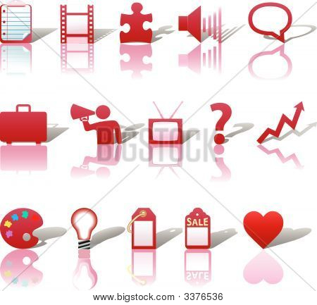 Communications Media Business Icons Set 3 Red