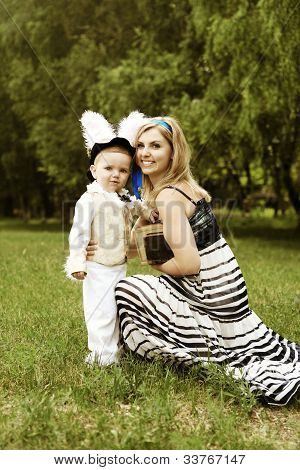 Alice And White Rabbit In Wonderland