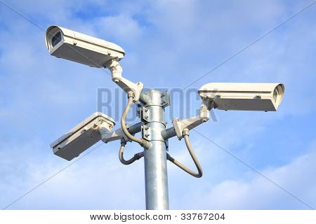 camera cctv and blue sky background