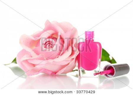 Pink Lacquer and pink rose isolated on white