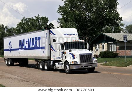 BOWMAN-JUNE 18:Wal-Mart truck driving through Bowman, North Dakota, on June 18, 2009. The recession has brought wealthier customers to Wal-Mart looking for bargains, the AP reports.