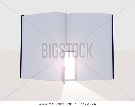 Book without text and open door emits light
