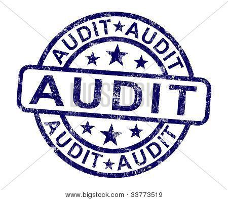 Audit-Briefmarke zeigt finanzielle Rechnungswesen-Prüfung