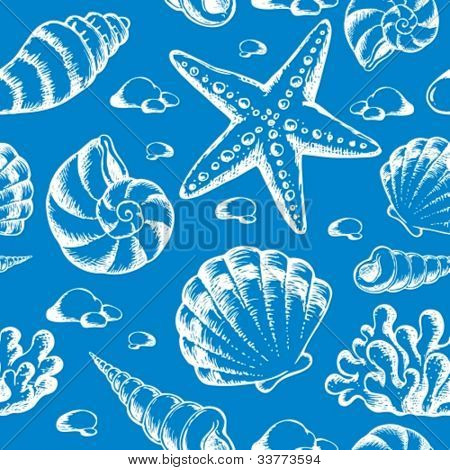 Beach theme seamless background 2 - vector illustration.