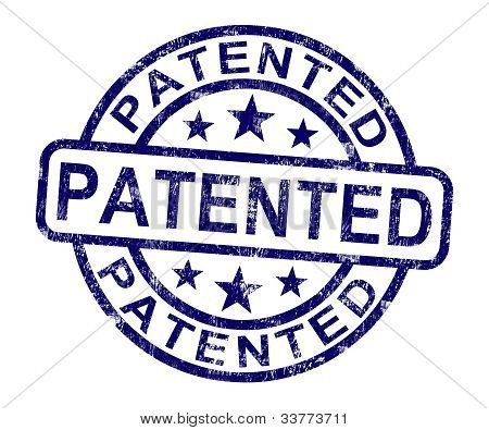 Patented Stamp Showing Registered Patent Or Trademark