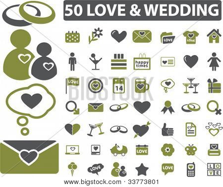 50 love & wedding icons set, vector