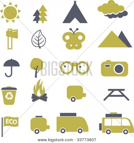 eco travel & camping icon set, vector