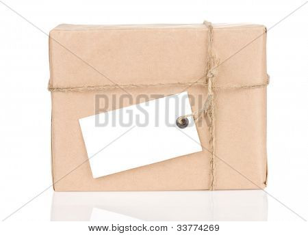 parcel wrapped with rope isolated on white background