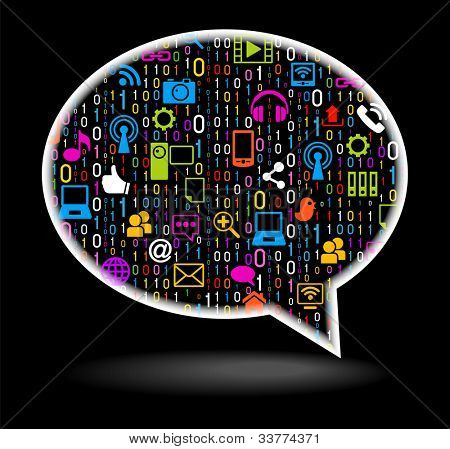 Social Media concept. Network icon in the shape of speech bubble