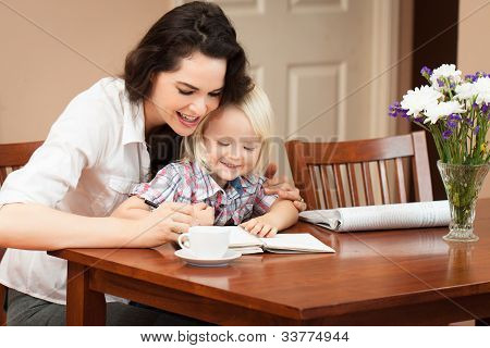 Mother And Son Writing
