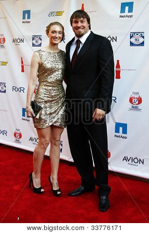 NEW YORK-MAY 31: New York Giants linebacker Chase Blackburn and guest attend the 4th annual Tuck�s Celebrity Billiards Tournament on May 31, 2012 in New York City.
