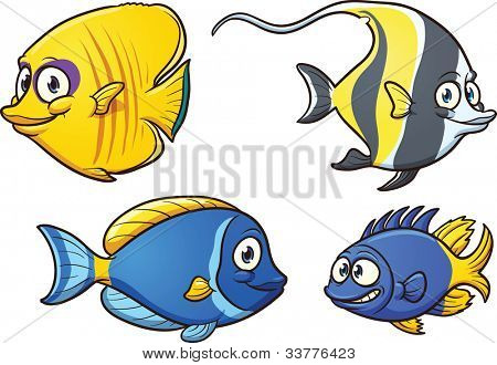 Cute cartoon fish. Vector illustration with simple gradients. Each in a separate layer for easy editing.