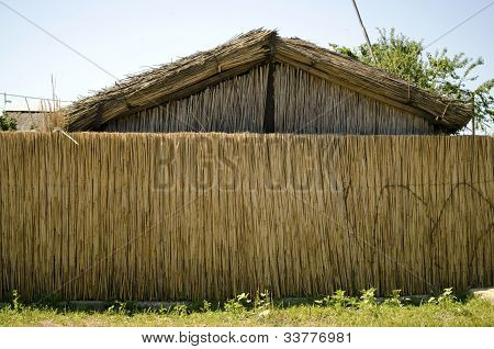 house of reed with reed fence