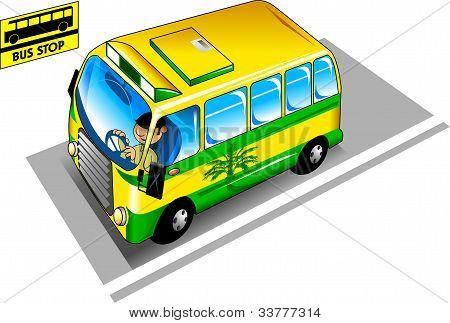 Autobús en la parada de autobús