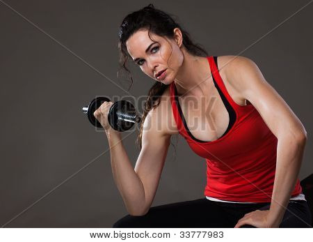 Beautiful Woman Lifting Weights