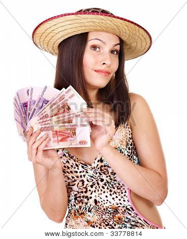 Woman with  money Russian rouble. Isolated.