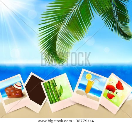 Photos from holidays on a seaside. Summer holidays concept. Vector.