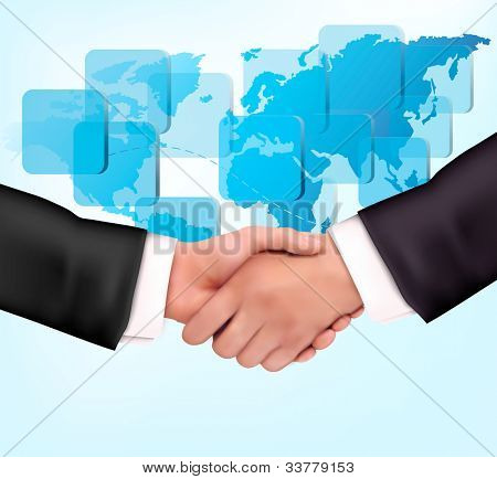 Handshake between business people with map of the world. Vector