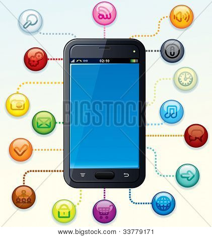 Modern Touchscreen Smart Phone with Application Icons