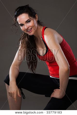 Happy Woman Having Rest After Exercise