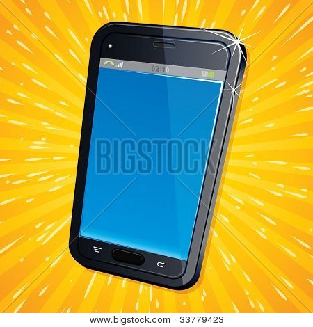 Illustration of Retro Styled Poster with Modern Cellphone
