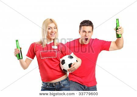 Male and female euphoric fans holding beer bottles and football cheering isolated on white background