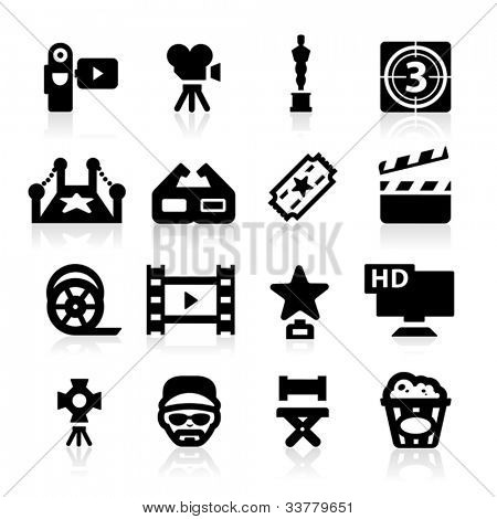 Film industry icons set - Elegant series