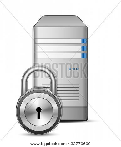 IT security concept. Server and padlock. Vector Illustration of protected computer server