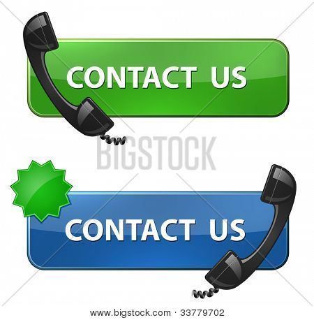"""Contact Us"" icon. Phone receiver and contact us button. Vector illustration"