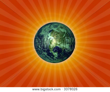 Earth In Starburst Background
