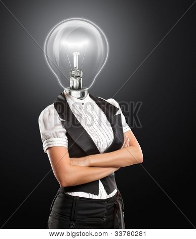 Idea concept, lamp head business woman have got an idea