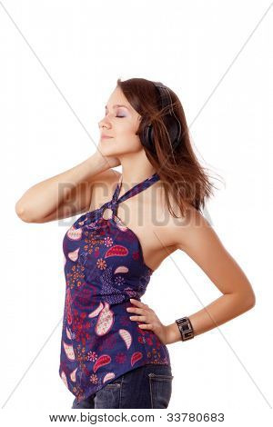 Side view of happy girl in headset singing isolated on white