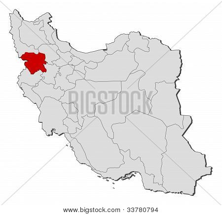 Map Of Iran, Kurdistan Highlighted