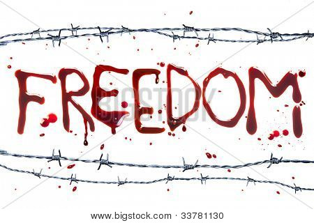Barbed wire and blood letters as a symbol of freedom