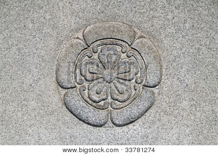 Asian style flower pattern on a wall