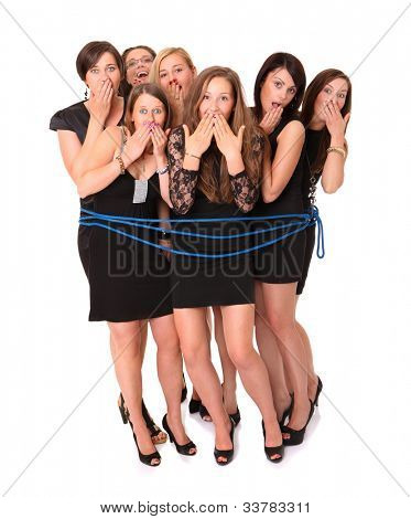 A picture of a group of seven girls tied by a blue rope over white background