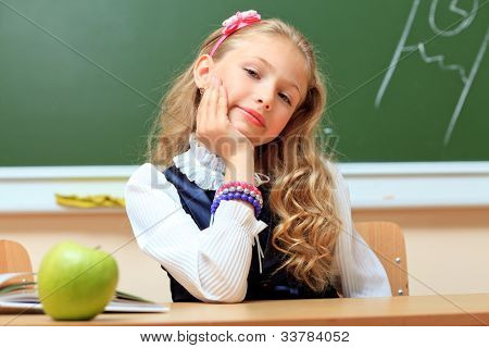 Portrait of a cute schoolgirl in a classroom.