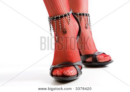 Painted Toes In High Heel Sandals