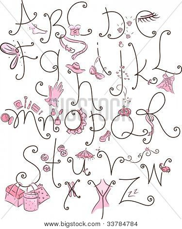 Alphabet Illustration with a Girly Theme