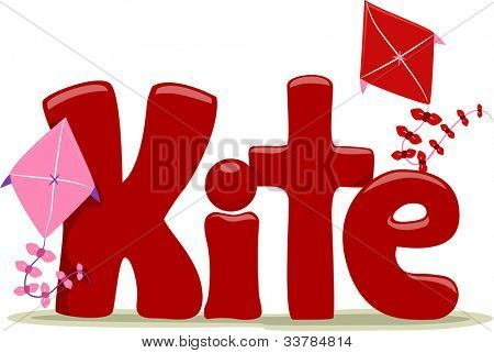 Text Illustration Featuring the Word Kite